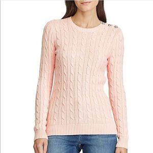 LAUREN RALPH Pink Ice Cable-Knit Cotton Sweater